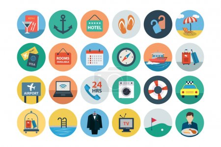 Illustration for Use these icon vectors in your next hospitality, travel and hotel project or another industry altogether. - Royalty Free Image
