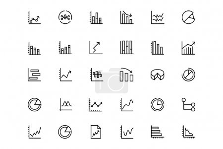 Illustration for Set of business chart vector line icons. - Royalty Free Image