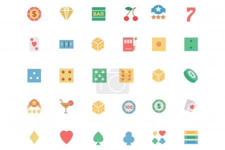 Flat Casino Vector Colored Icons 1