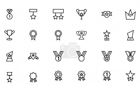 Award and Medal Vector Line Icons 4