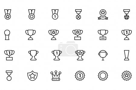 Award and Medal Vector Line Icons 2