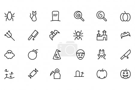 Set of Halloween vector line icons....