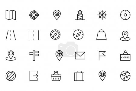 Map and Navigation Vector Line Icons 2