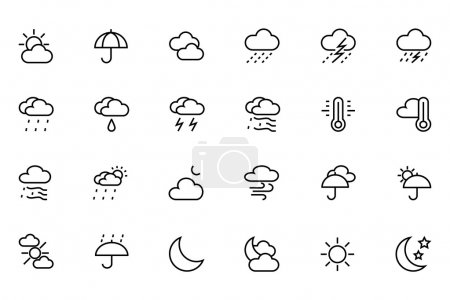 Illustration for Weather icons are useful not only for weather forecast websites but also for weather-related applications. If you have a website or blog, you can use these weather icons to display weather-related posts on your site. - Royalty Free Image