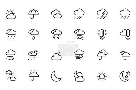 Illustration pour Les icônes météo sont utiles non seulement pour les sites Web de prévisions météorologiques, mais aussi pour les applications liées à la météo. Si vous avez un site Web ou un blog, vous pouvez utiliser ces icônes météo pour afficher les messages liés à la météo sur votre site . - image libre de droit