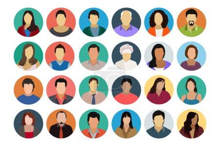Illustration pour Ces icônes vectorielles avatar cool sont certainement géniales si vous cherchez un avatar pour vous représenter ou pour tout projet que vous pourriez avoir ! - image libre de droit