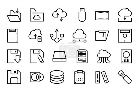 Data Storage Vector Line Icons 4