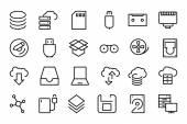 Set of data storage vector line icons