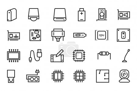 Computer Hardware Vector Line Icons 3