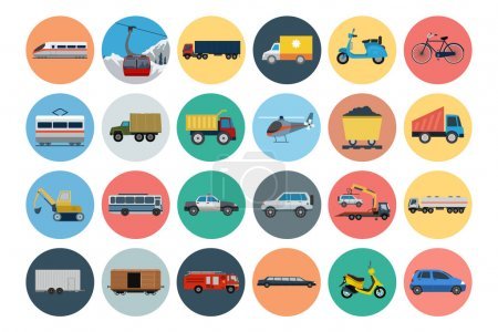 Photo for Whether you like to travel by car, bus, train, bicycle, plane, boat or rocket ship, this transport vector set is your one stop shop for transportation icons. - Royalty Free Image
