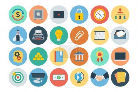 Illustration for Set of office flat colored icons. - Royalty Free Image