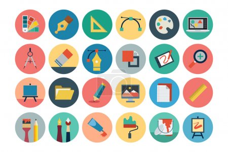 Illustration for A neat collection of Flat Design vector icons that you can easily integrate in your design and the cool thing is, that there are so many of them, you will definitely find something you need in here. - Royalty Free Image
