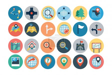 Illustration for Provide easy access to your location with this Maps and Navigation Flat Icons Set! These icons are so easy to integrate into your projects, you'll just love them. - Royalty Free Image