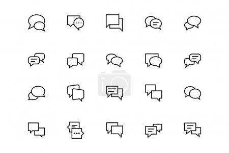 Chat Messages Line Vector Icons 3