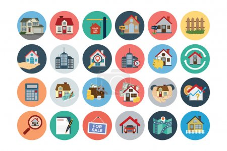Illustration for This trendy set of real estate vector icons are just perfect for real estate agencies and home insurance agencies, adverts and promotional materials. - Royalty Free Image