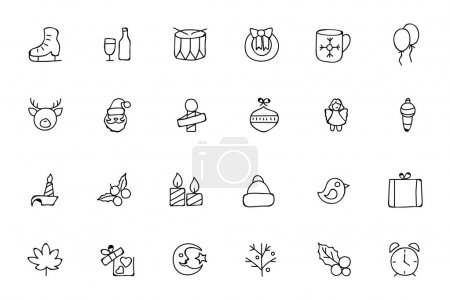 Illustration for Set of Christmas hand drawn doodle icons. - Royalty Free Image