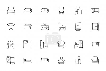 Furniture Hand Drawn Vector Icons 1