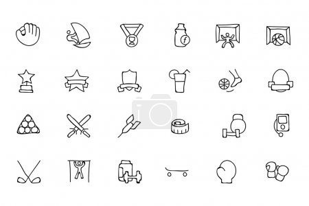 Sports Hand Drawn Doodle Icons 8