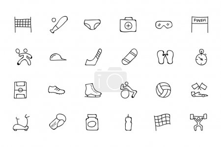 Sports Hand Drawn Doodle Icons 3