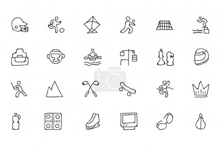 Sports Hand Drawn Doodle Icons 6
