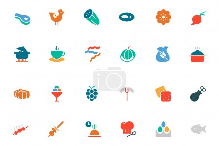 Food and Drinks Vector Colored Icons 7