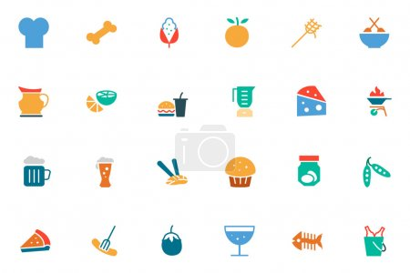 Food and Drinks Vector Colored Icons 5