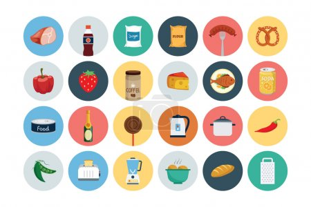 Illustration for These Flat Food Vector Icons are perfect for all kind of restaurants, coffee shops, fast foods and any other business related to the food industry. - Royalty Free Image