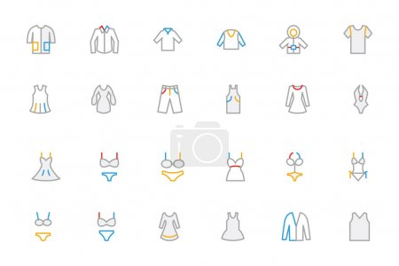 Clothes Colored Outline Vector Icons 1