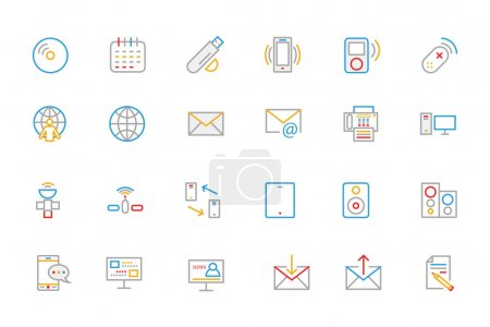Communication Colored Outline Vector Icons 7
