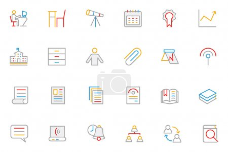 School and Education Colored Outline Vector Icons 6