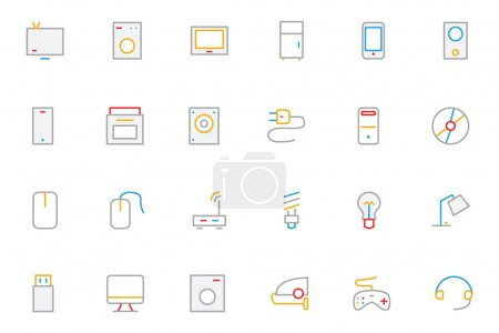 Electronics and Devices Colored Outline Icons 1