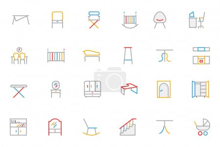 Furniture Colored Outline Vector Icons 4