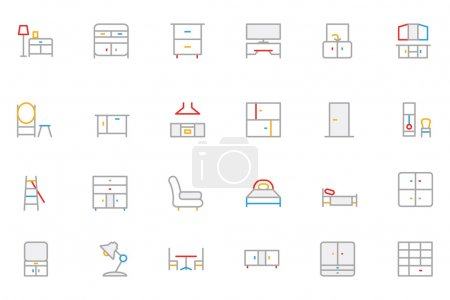 Illustration for Set of furniture vector line icons. - Royalty Free Image
