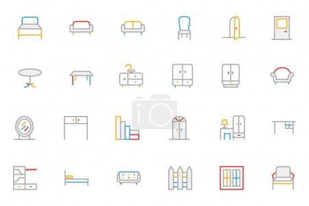 Furniture Colored Outline Vector Icons 1