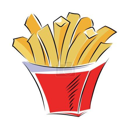 Illustration pour Besoin d'un délicieux frites pour votre prochain projet ? Cette icône de frites croquantes colorées est probablement ce dont vous avez besoin . - image libre de droit