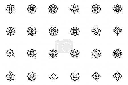 Illustration for Flowers never fail to brighten our day, so spruce up your day with this Flowers and Floral Line Vector Icons. - Royalty Free Image