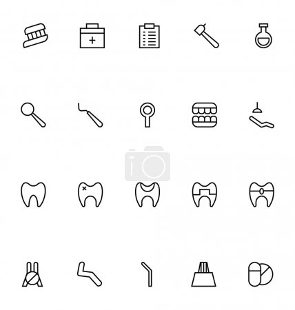Dental Line Vector Icons 6