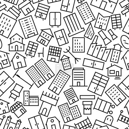 Building and Furniture Seamless Outline Icon Pattern