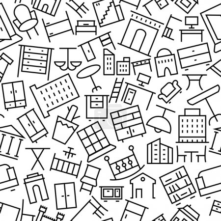 Building and Furniture Hand Drawn Outline Icon Pattern