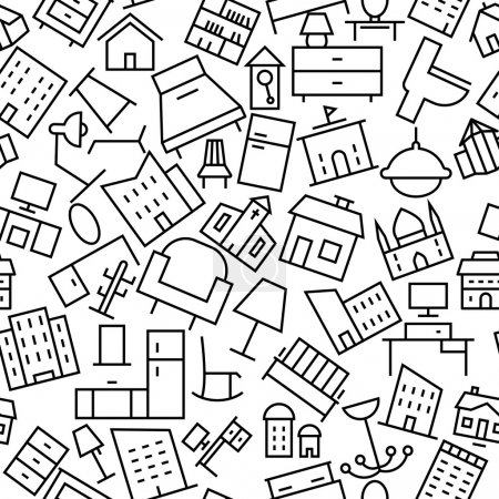 Building and Furniture Seamless Hand Drawn Icon Pattern