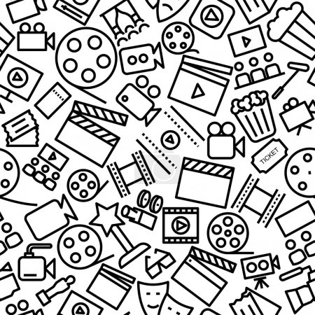 Cinema Hand Drawn Outline Seamless Icon Pattern