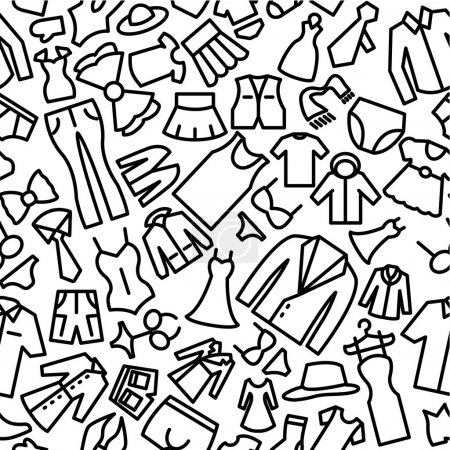 Fashion Hand Drawn Sketchy Outline Seamless Icon Pattern