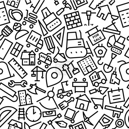 Construction Seamless Outline Icon Pattern