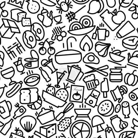 Food and Drinks Hand Drawn Icon Pattern