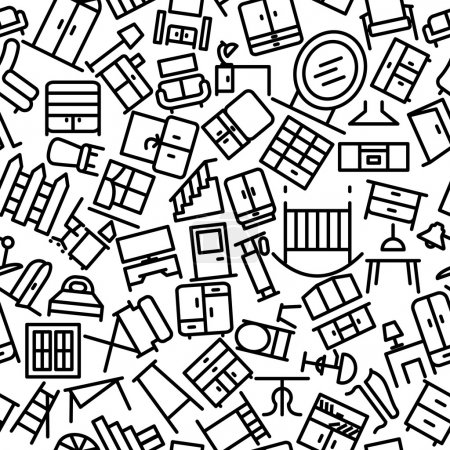 Furniture Sketchy Seamless Outline Icon Pattern