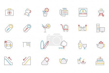 Hotel and Restaurant Colored Outline Vector Icons 4