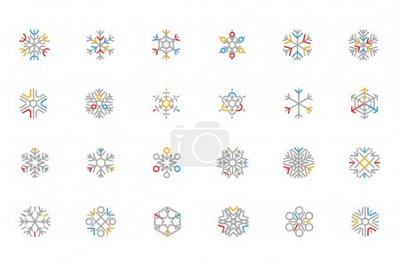 Snowflake Colored Outline Vector Icons 1