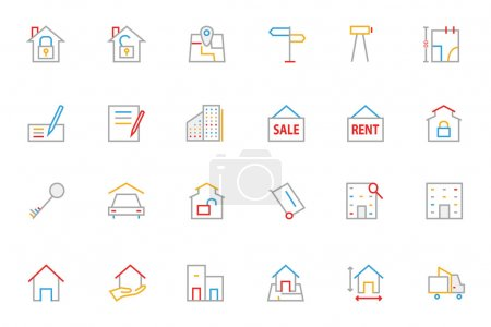 Real Estate Colored Line Icons 2