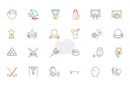 Sports Colored Outline Vector Icons 8