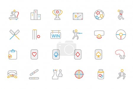 Sports Colored Outline Vector Icons 4